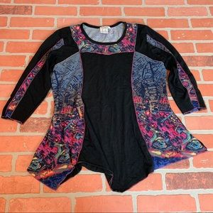 Parsley & Sage Black Asymmetrical Hem Tunic Top
